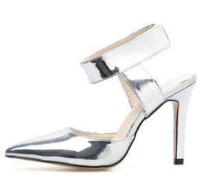 Silve Shoes Women Thin High Heels Sling Back Pointed Toe Sandals