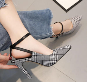 Plaid Shoes Woman Thin High Heels Pumps Pointed Toe Ladies Sling Back