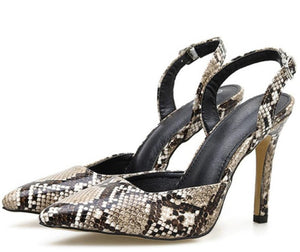 Snake Skin Sandals Shoes Thin High Heels Pumps