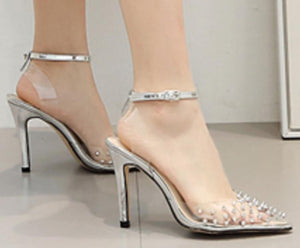 girl thin high heels pumps clear transparent rivets pointed toe ladies