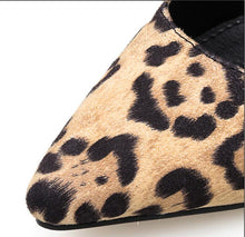 girl thin high heels pumps leopard PU leather slippers pointed toe ladies
