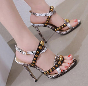 sandals thin high heels pumps girl cross-tied stiletto ladies open toe punk rivets