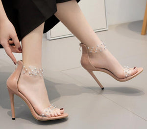 woman clear transparent thin high heels pumps stiletto ladies rivets