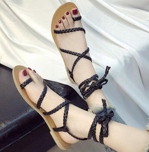 flip thong flats ladies casual shoes  cross-tied lace up woven sandals