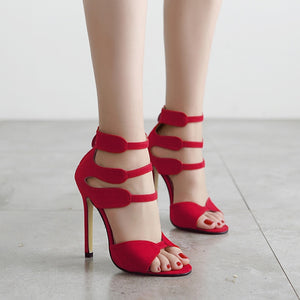 the new female red Roman sandals heels shoes zipper peep-toe shoes