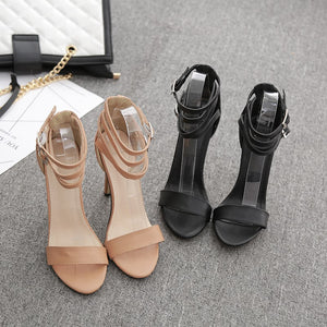 New Brown Sandals Cross strap fashion footwear High heels