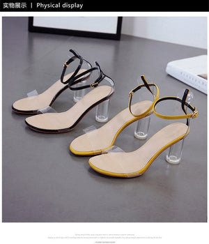 the new yellow female sandals Crystal shoes Fashion high heels