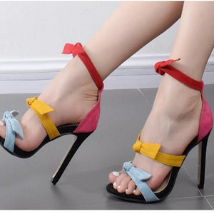 candy color fashion sexy  suede fine with high heels open-toed sandals