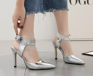 Spring Tip Back Air Sandals Silver Slim Heel High-Heeled Women's Shoes