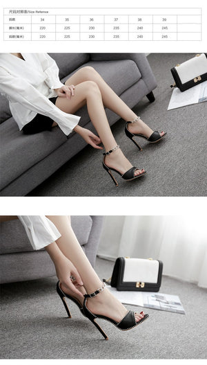 High Heels Hollow Sandals Female Rivets Peep-Toe Fish Mouth Shoes
