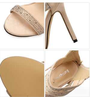 Female Sandals Diamond Heels Big Yards Peep-Toe Footwear