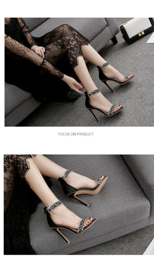 Female Sandals A Line Buckles Roman Shoes After Diamond Zipper Shoes