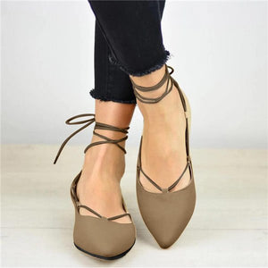 Pointed Toe Shallow Mouth Flat Heel Lace-Up Casual Single Shoes