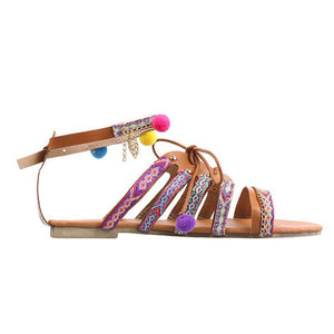 Women Bohemia Sandals Gladiator Leather Sandals Pom-Pom shoes