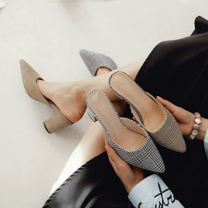 Fashion Pointed Toe  stripe Women slipper Square heel Shoes