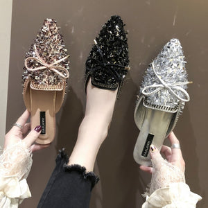 Pointed Toe Women luxurious Sequined Cloth Flat Shoes  flats flip flop