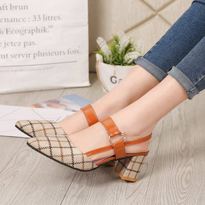 Women's Mid Heel Sandals Thick Heel Thin Pointed Toe Stripe Shoes