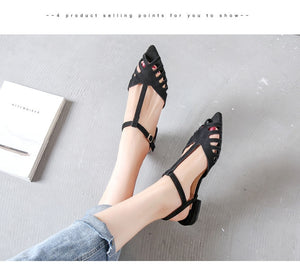 Gladiator Woman Flat Pointed Toe Hollow Out Low-Heels Sandals