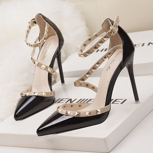 High and thin  Heels Sexy Hollow Pointed toe Woman  Wedding Shoes