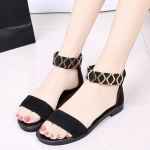 Women Toe Sandals Fashion Student  Pattern Color Flat Bottom Foot Leisure Tim