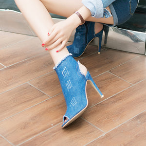 Fashion wear-resisting loafer espadrilles sandal top air non-slip slippers rise soft denim