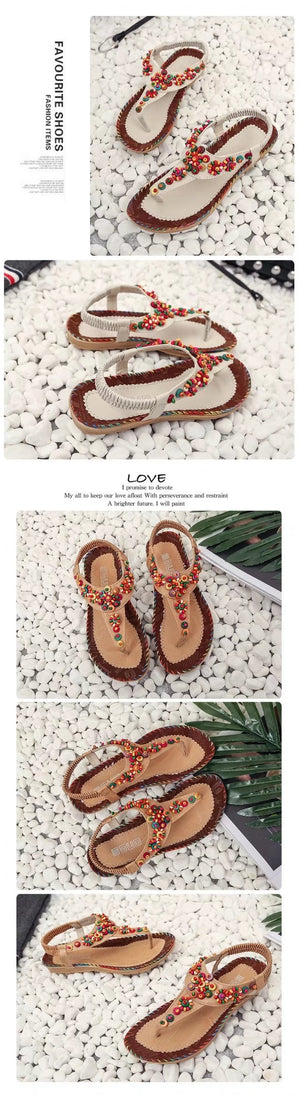 Bohemia Style Beaded Pure Color Women Flats Flip Flops Shoes