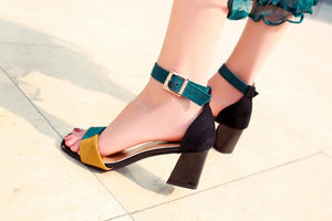 High Heels Shoes Open Toe Woman Ankle Strap Pumps Mixed Colors