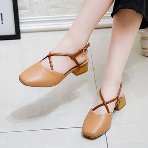 Korean Women Square Toe Sandals Soft Leather Baotou Office Shoes