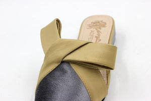 Med Heels Pointy Shallow Suede Sandals Summer Word Bowtie Slip On Shoes