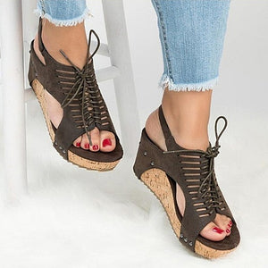 fashion PU Rubber Wedge Female Sandals Slim Wild Handmade Beaded  shoes
