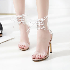 Lace-Up Sandals Open Toed High Heels Sexy Women Transparent Heel