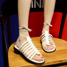 Vintage Summer Women Shoes Gladiator Sandals Ankle Strap Flat