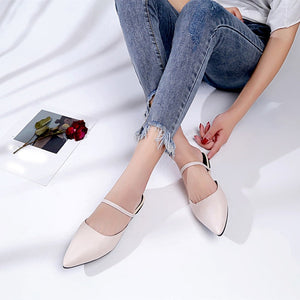Pure Color Leather Heels Flats Pointed Toe Office Ladies Brand Shoes