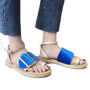 Rome Ladies Concise Flat Bottom Espadrilles Chunky Sandals Shoes