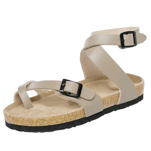 Cork Sandals Casual Gladiator Buckle Strap Sandals Flat Shoes