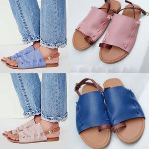Flat-Bottomed Roman Sandals Open Ankle Flat Platform Shoes