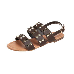 Sandals Woman With Rivets Open Toe Buckle Strap Beach Shoes Flat Sandals