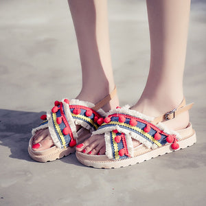 Women Ethnic Style Tassel Hairball  Flat Shoes Roman sandals