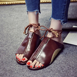Beach Wear Casual Flat-Bottomed Roman Sandals Ankle Strap Lace up Shoes