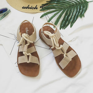 Summer Roma Soft Flat Sandals Women Lace Up Casual Round Toe Shoes