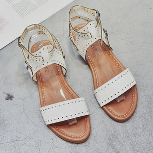 Roman Flat Sandals Summer Ladies  Buckle Casual Shoes Solid