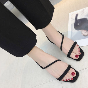 Beach Elastic Band Ladies Sandals Square Toe Summer Casual Shoes