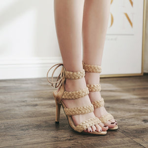 flock Super High Thin Heel Open Toe Ankle Strap Lace-Up Pump Sexy Shoes