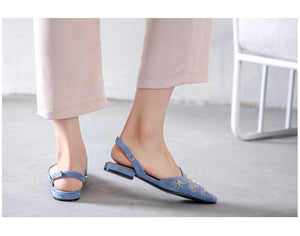 Retro Flat single Shoes fashion Casual Baotou  metal star Slingbacks Roman sandals