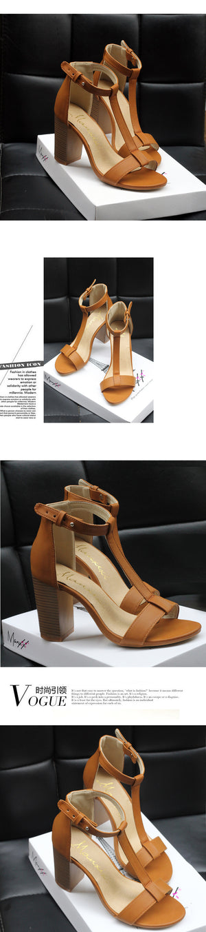 Gladiator High Heel Women Buckle Retro Square Heel Sandals