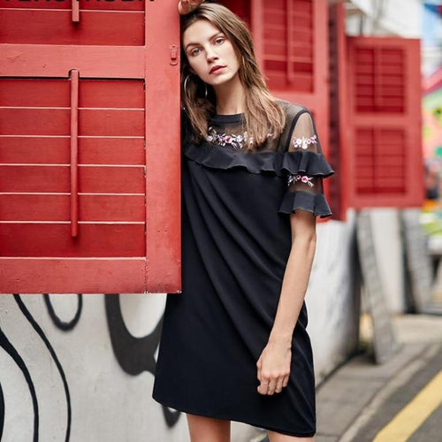 Embroidery O-Neck Mesh Chiffon Splicing Party Summer Dress