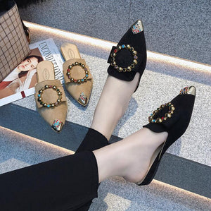Summer Pointed Toe metal casual slipper Suede flats Sandals Half Slippers Loafers Shoes