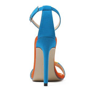 Suede Color Matching Word Band Simple Versatile Stiletto High Heel Sandals