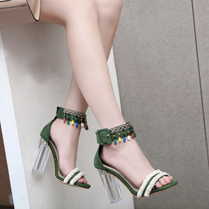 Fashion Sweet Suede Beaded Crystal Matching Fish Mouth Sandals Color Beaded  High Heel  Shoes