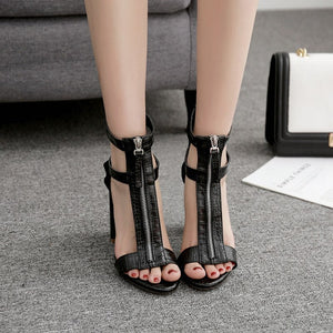 High Heel Fashion Front Rear Zipper Thick Ultra High Heels Fish Mouth Sandals